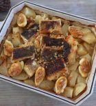 Cod in the oven with potatoes and egg