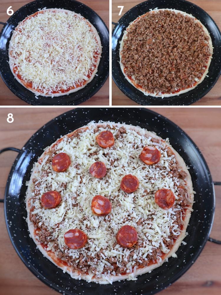 Meat and chouriço pizza steps