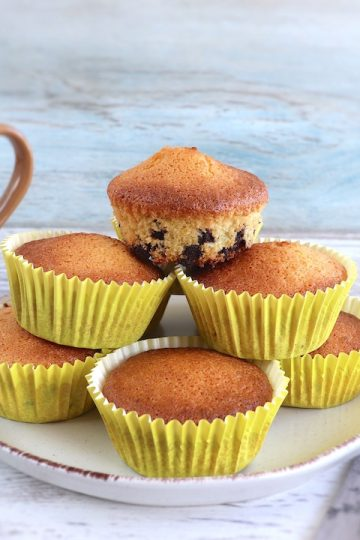 Lemon chocolate chip muffins on a plate