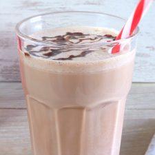 Chocolate milkshake on a glass cup