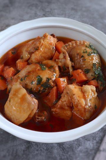 Chicken stew on a tureen