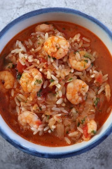 Simple shrimp rice on a tureen